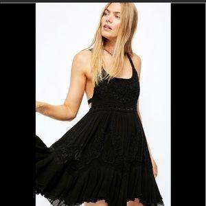 Free People Encrusted Beaded Black Mini Dress